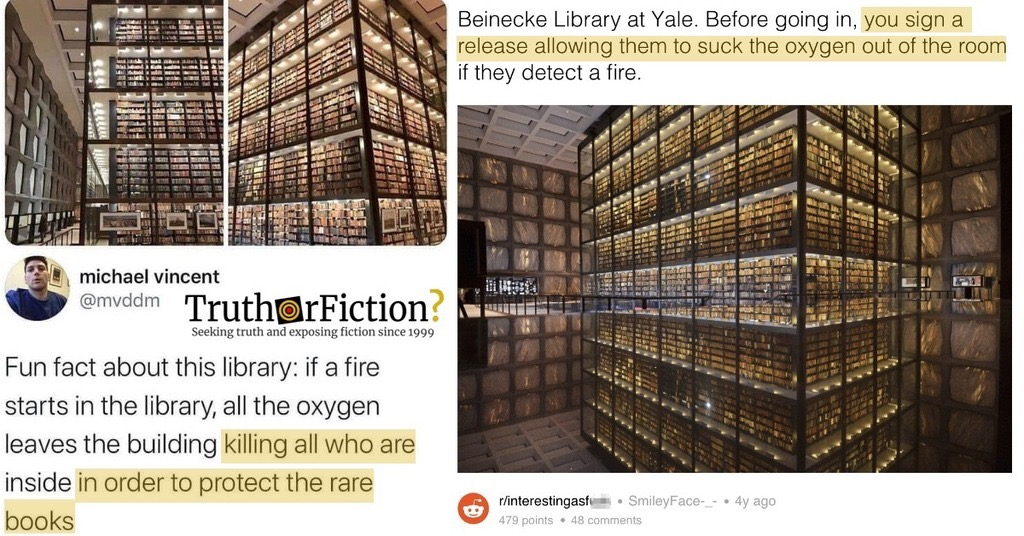 'Fun Fact … If a Fire Starts in the [Yale] Library, All the Oxygen Leaves the Building,' 'Killing [People] … to Protect the Rare Books'