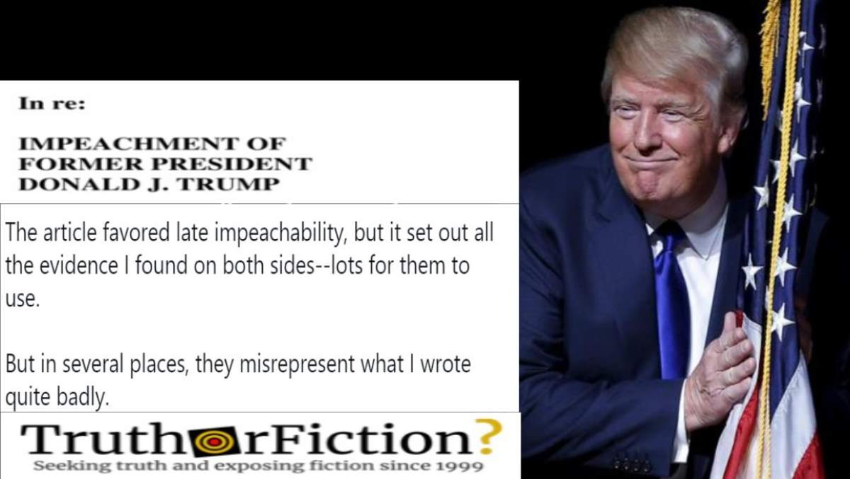 Law Professor Refutes Trump Attorneys' Attempt to Cite Him in Impeachment Defense
