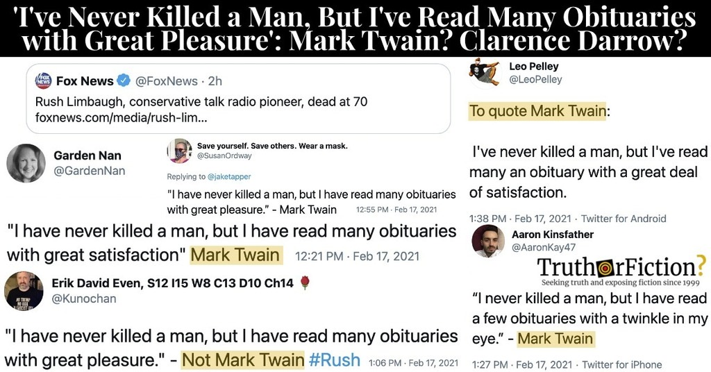 'I've Never Killed a Man, But I Have Read Some Obituaries with Great Pleasure' Quote Origin