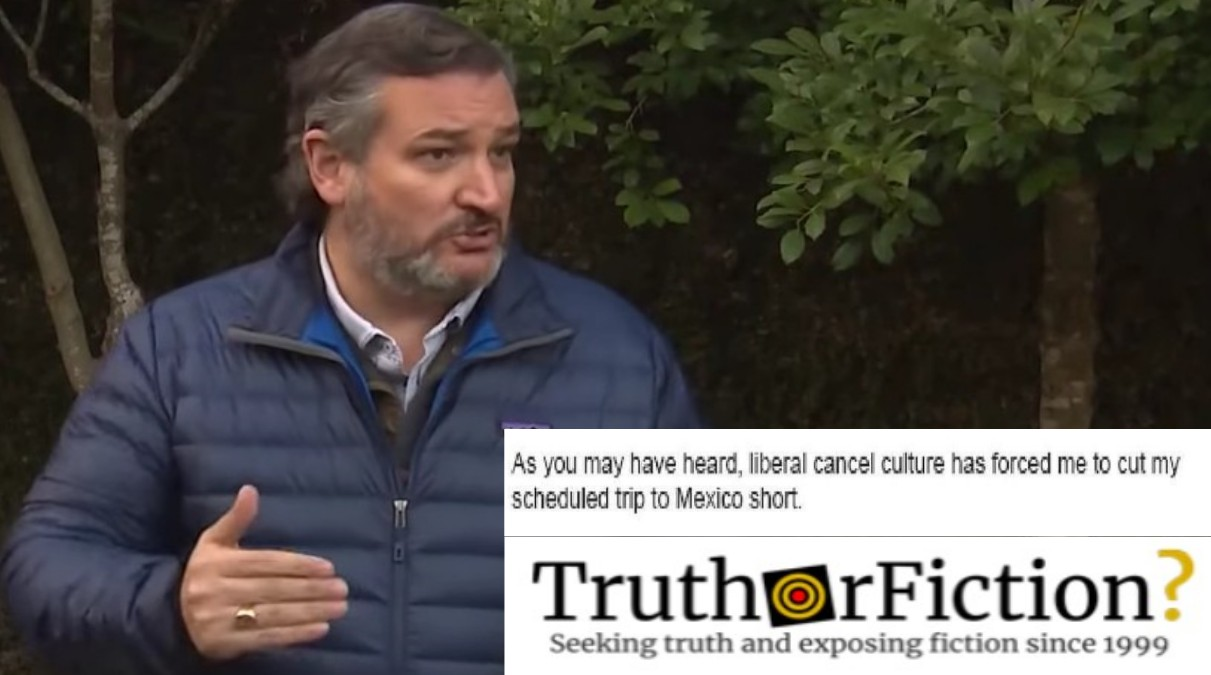 Did Ted Cruz Blame 'Cancel Culture' For his Mexico Trip?