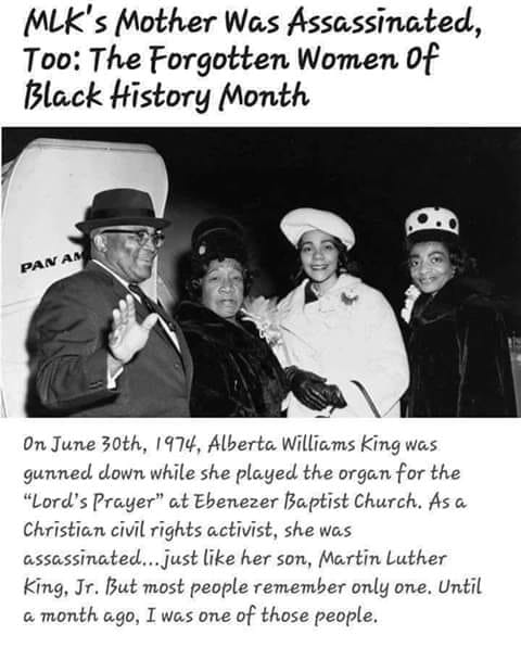mlks mother was assassinated too