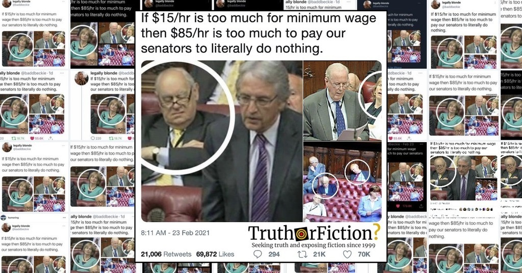 'If $15/Hr is Too Much For Minimum Wage Then $85/Hr is Too Much to Pay Our Senators to Literally Do Nothing' Tweet