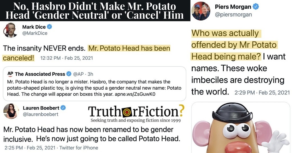 No, Mr. Potato Head Is Not Gender Neutral Now