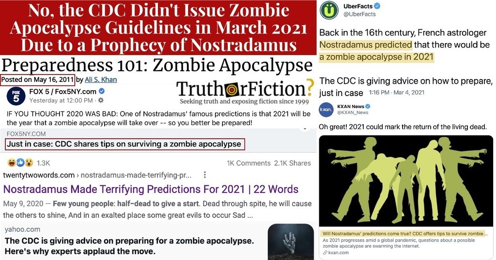 Did the CDC Issue Zombie Apocalypse Guidelines in 2021 Because of a Nostradamus Prophecy?