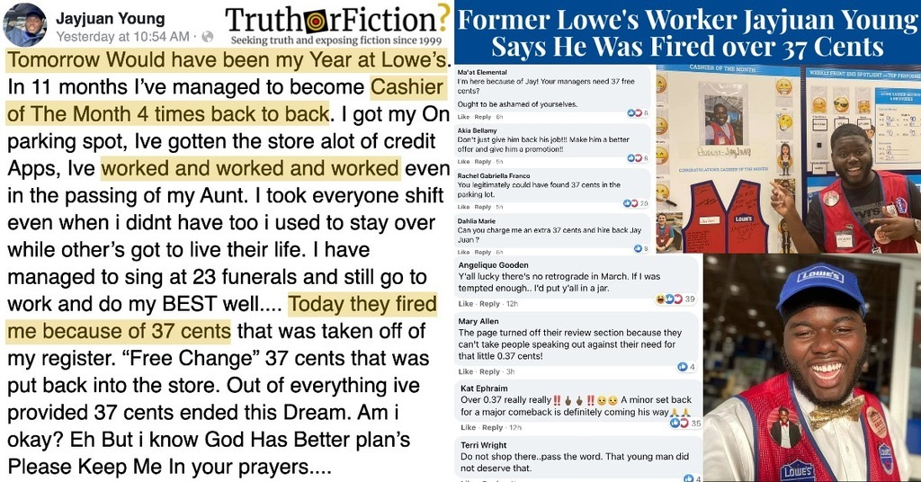 Former Lowe's Employee Jayjuan Young Says He Was Fired Over 37 Cents