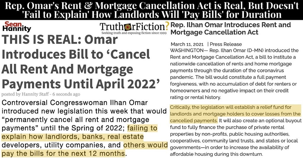 Did Congresswoman Ilhan Omar Propose a 'Rent and Mortgage Cancellation Act,' But While 'Failing to Explain How Landlords, Banks' Would Pay Bills?