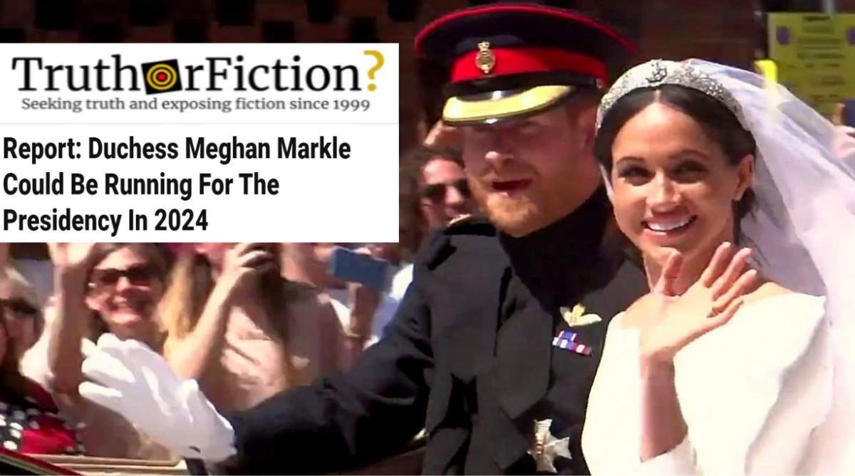 'Meghan Markle Could be Running for President in 2024'