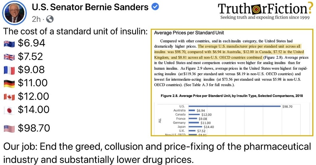 'The Cost of a Standard Unit of Insulin'