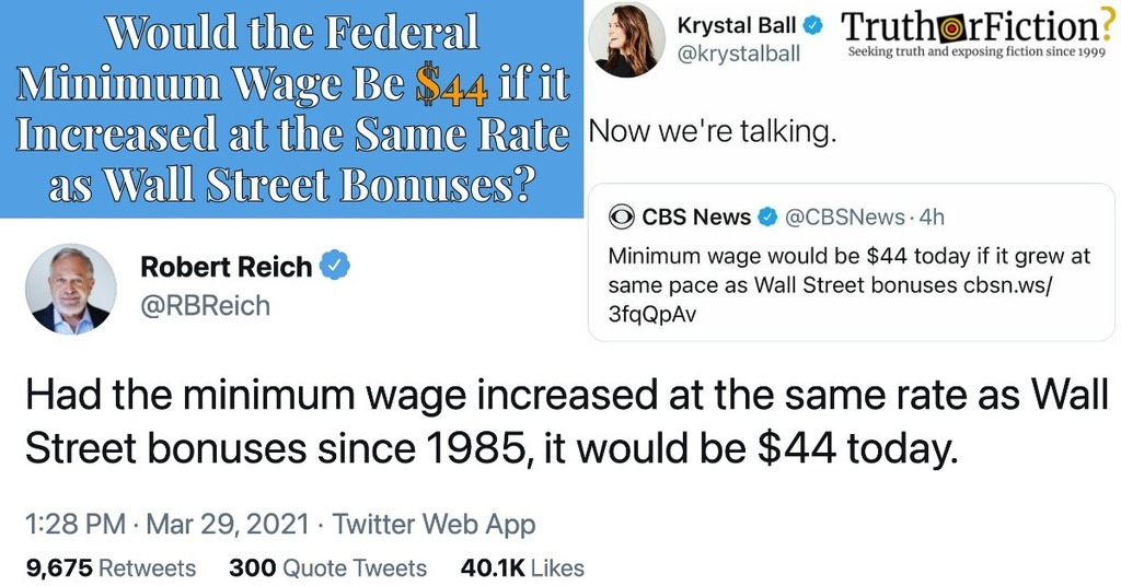 'Minimum Wage Would Be $44 [in 2021] If It Grew at the Same Pace as Wall Street Bonuses'