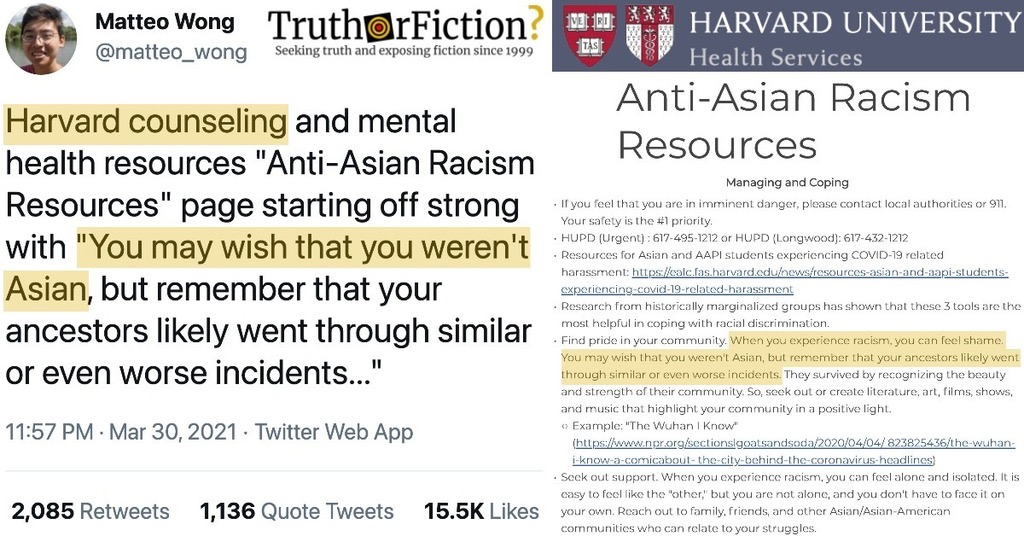 Harvard's 'Anti-Asian Racism Resources': 'You May Wish That You Weren't Asian'