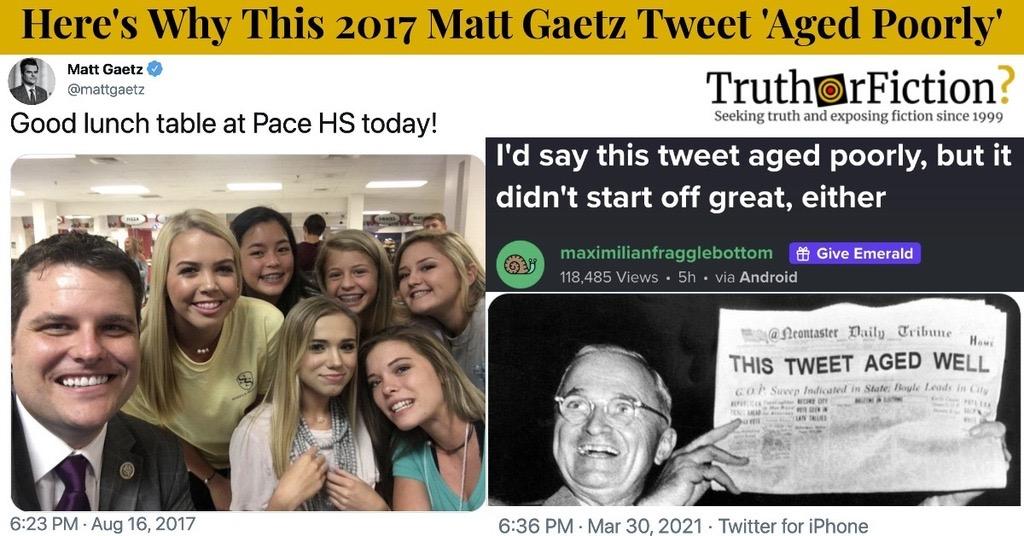 Rep. Matt Gaetz's 2017 'Pace HS' Tweet Resurfaces Amid Scandal