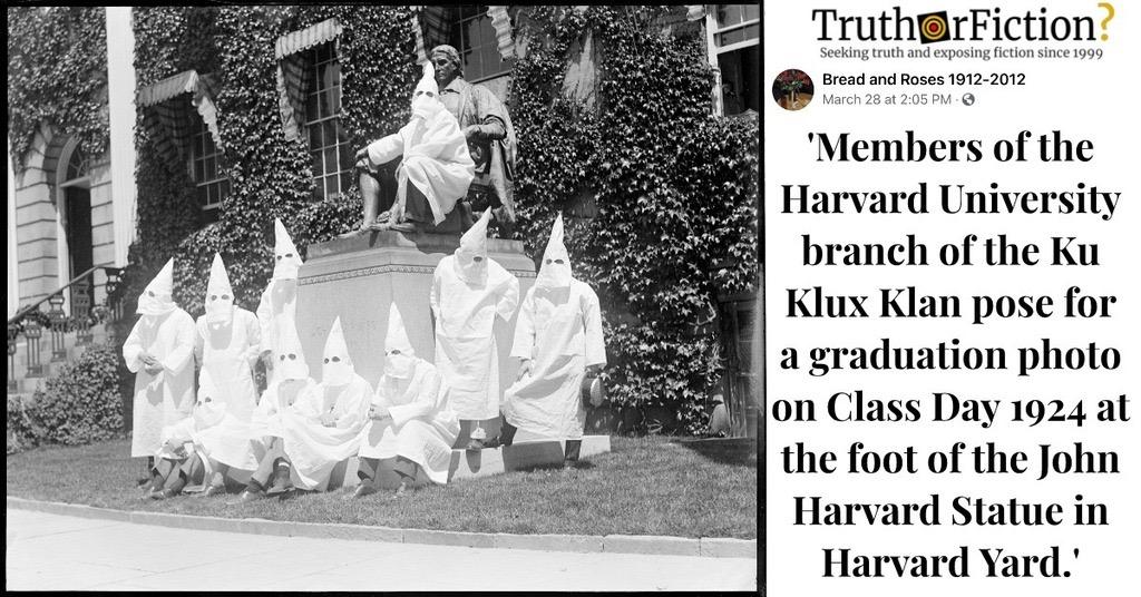 'Harvard University Branch of the Ku Klux Klan' in 1924