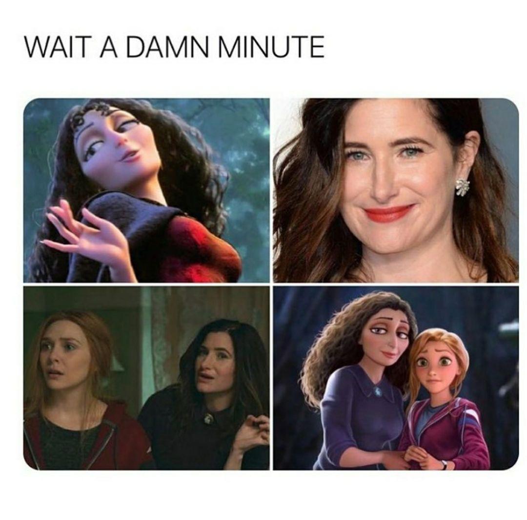 wandavision tangled meme wait a damn minute
