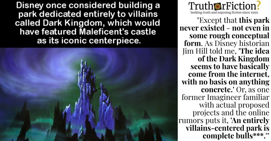 'Did You Know Disney Once Considered Building a Park Dedicated Entirely to Villains Called the Dark Kingdom?'