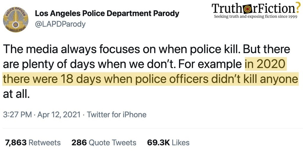 'In 2020, There Were 18 Days When Police Officers Didn't Kill Anyone At All'