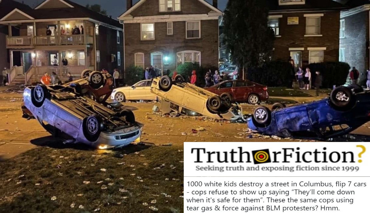 Did Columbus Police Not Arrest Anyone After a College 'Party' That Left Cars Overturned?
