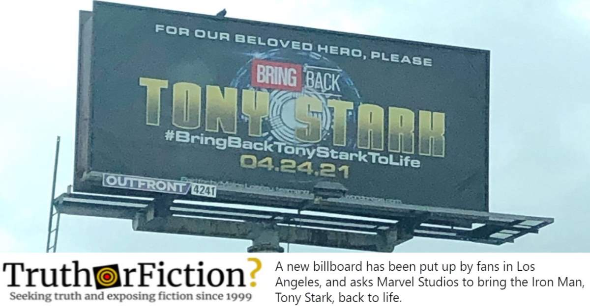 Alleged Billboard Renews Interest in Online Campaign to 'Bring Back Tony Stark to Life'