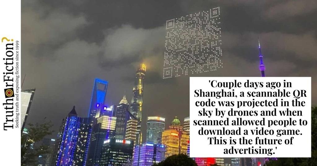 Scannable QR Code in the Sky in Shanghai