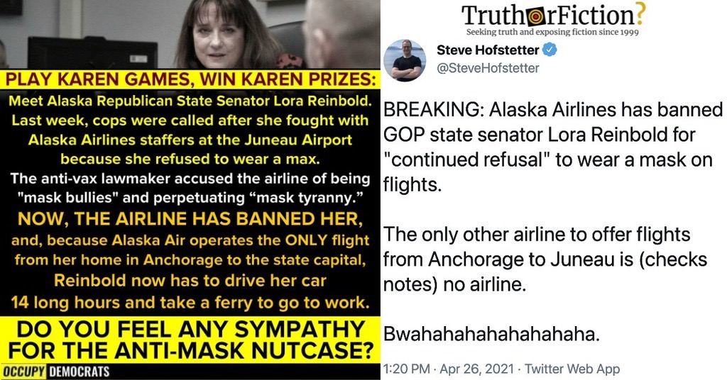 Sen. Lora Reinbold/Alaska Airlines Mask Controversy