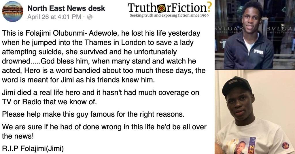 Folajimi Olubunmi-Adewole Jumped Into the Thames to Rescue a London Bridge Jumper