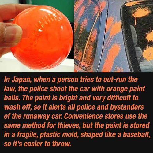 police in japan orange paint balls