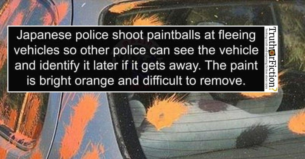 'Japanese Police Shoot Paintballs at Fleeing Vehicles' Meme