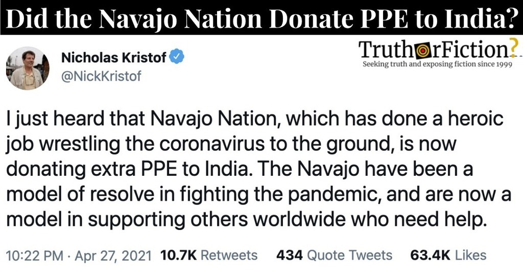 Navajo Nation Sends PPE to India?