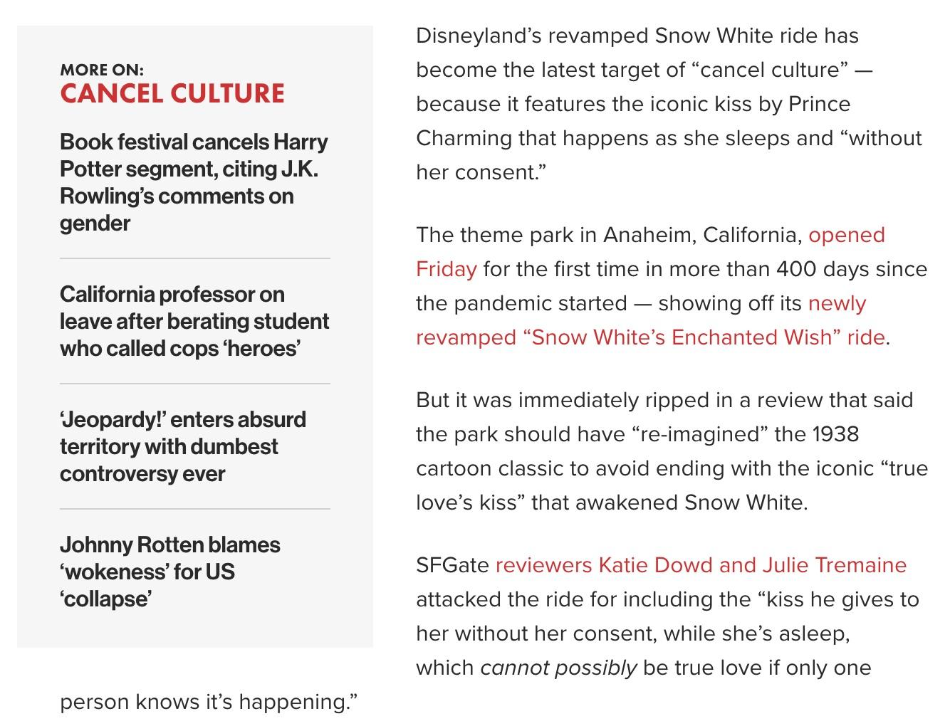 snow white cancel culture