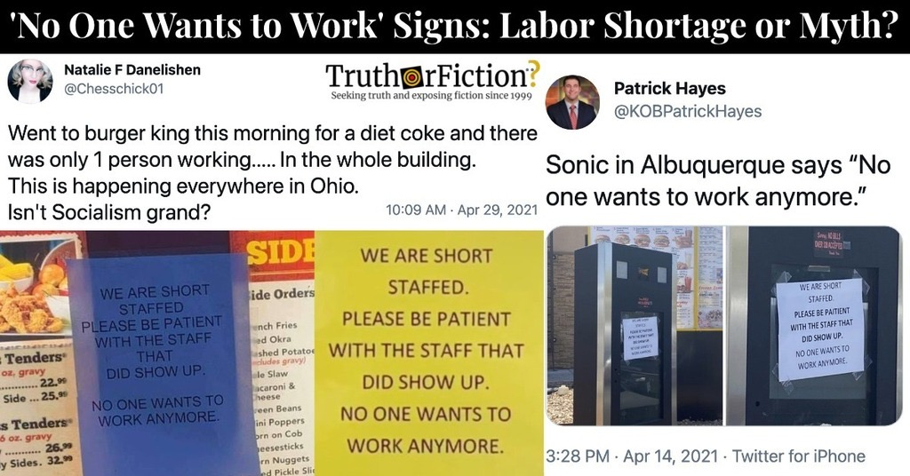 A Labor Shortage in 2021? Viral 'Signs' Are Not Employment Data
