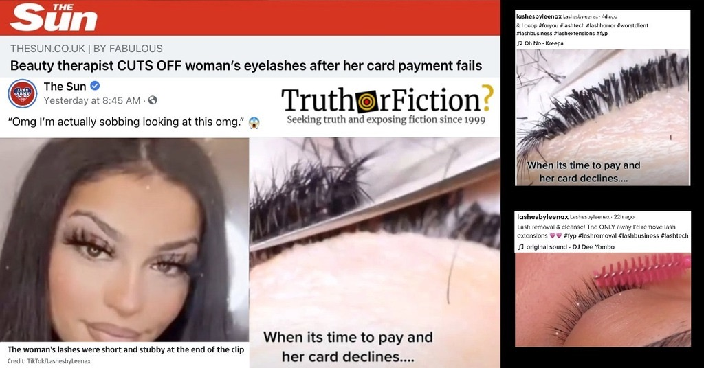 'Beauty Therapist Cuts Off Lashes After Client's Card is Declined' Story Goes Viral