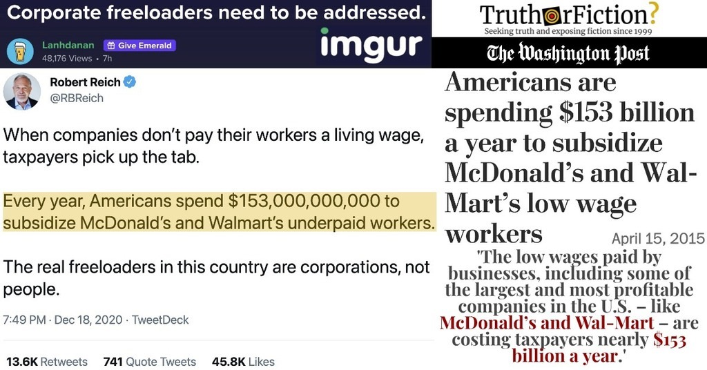 'Every Year, Americans Spend $153,000,000,000 to Subsidize McDonald's and Walmart's Underpaid Workers'