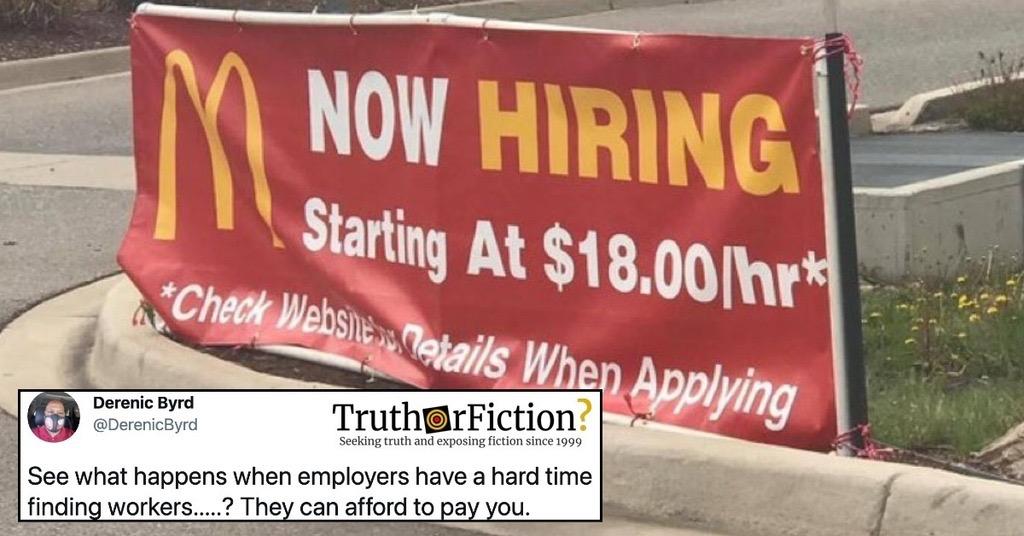 McDonald's '$18 an Hour' Hiring Sign