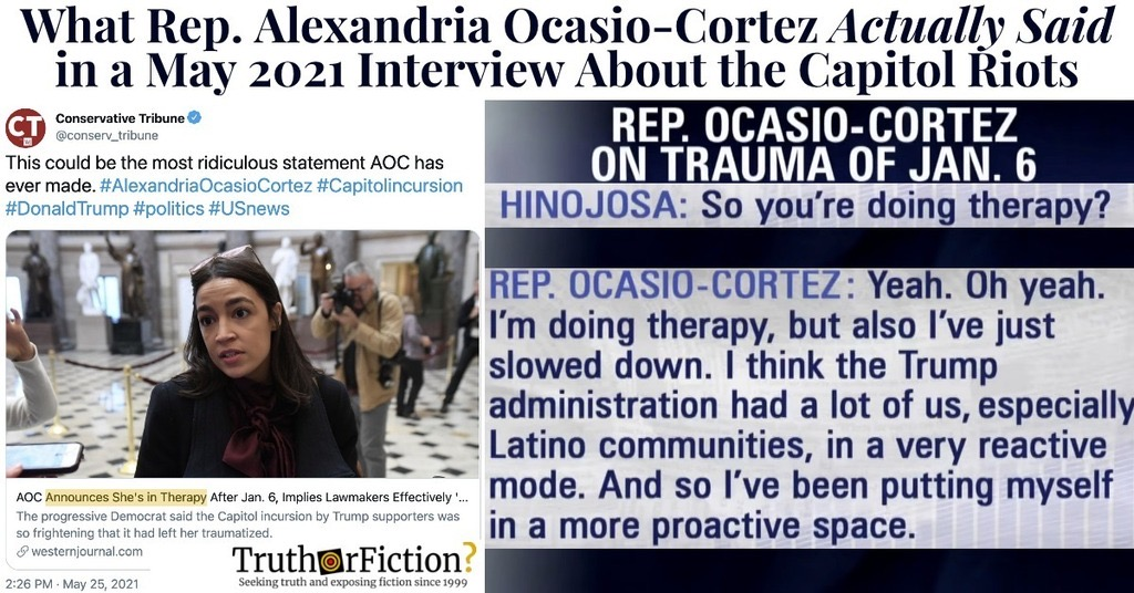 'AOC Announces She's in Therapy' and 'Implies Lawmakers Effectively Served in War' Interview Excerpt