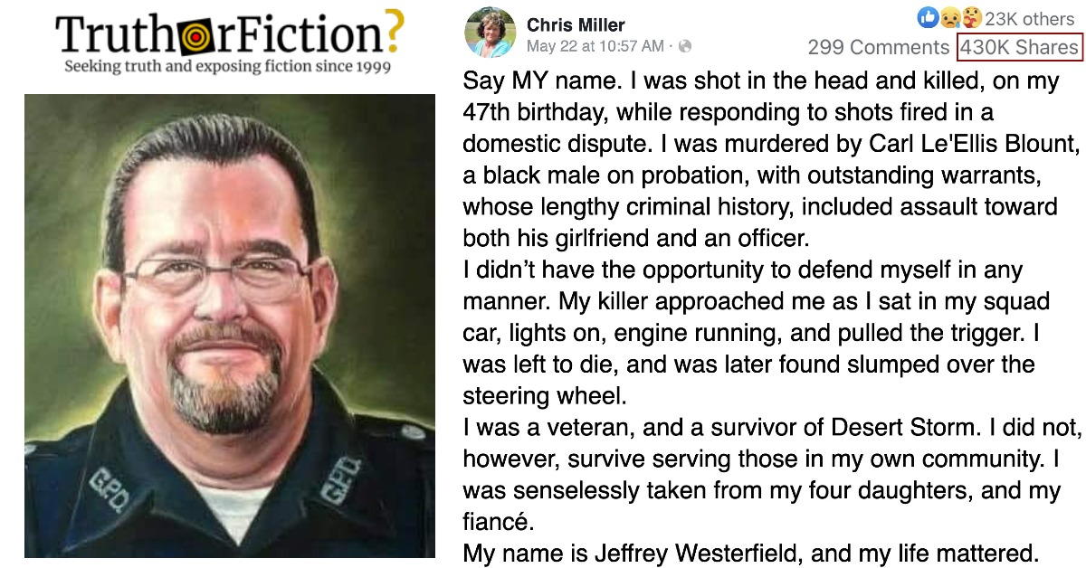 'Jeffrey Westerfield' Facebook Post