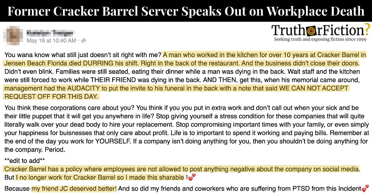 Jensen Beach Cracker Barrel Employee Death Facebook Post