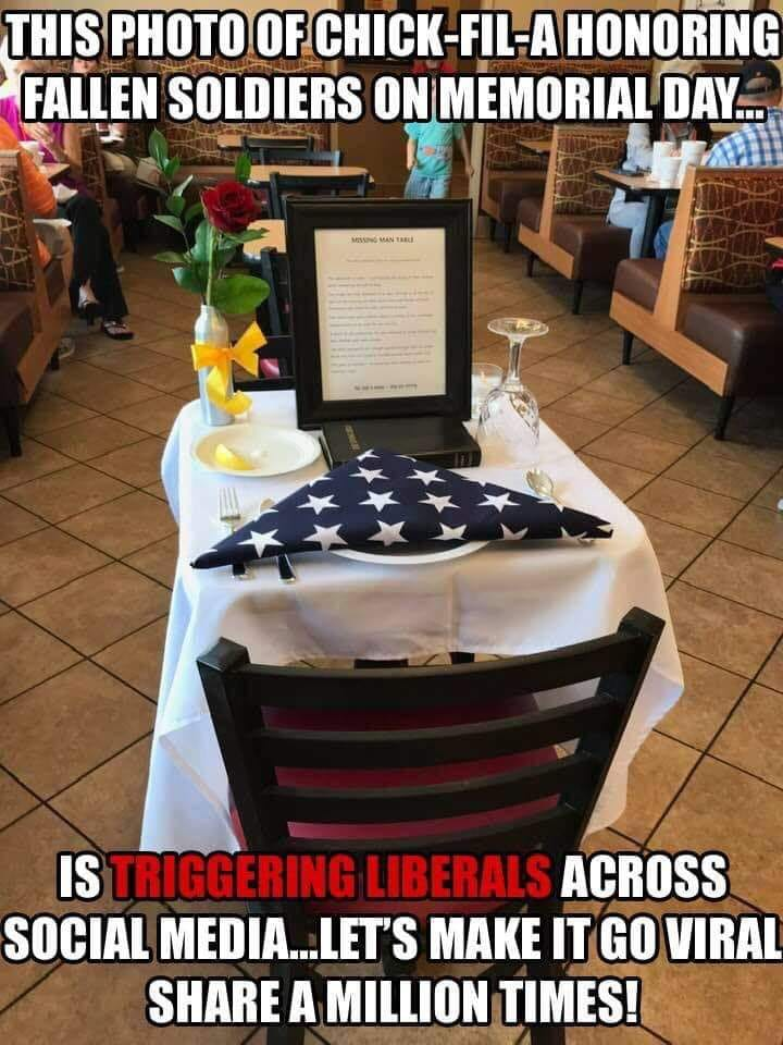 this photo of chick fil a honoring fallen soldiers on memorial day triggering