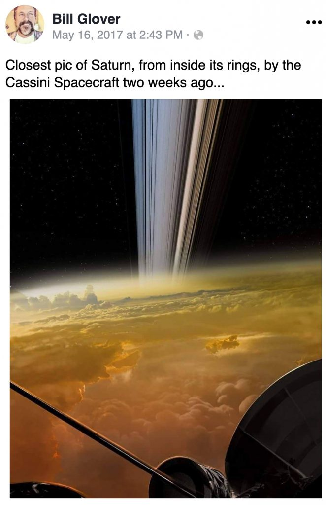 Closest pic of Saturn, from inside its rings, by the Cassini Spacecraft two weeks ago...