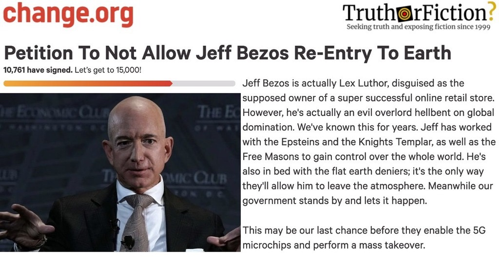 'Petition to Not Allow Jeff Bezos Re-Entry to Earth'