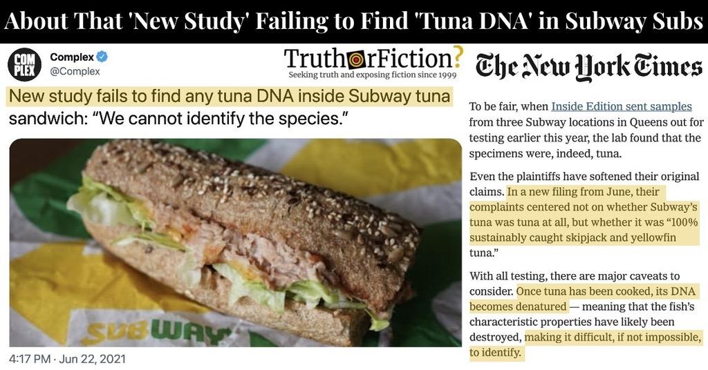 Study Fails to Find Any Tuna DNA Inside Subway Tuna Sandwich