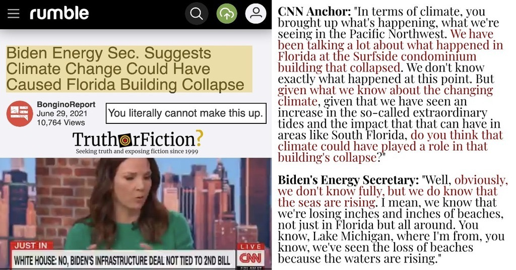 'Biden Energy Sec. Suggests Climate Change Could Have Caused Florida Building Collapse'