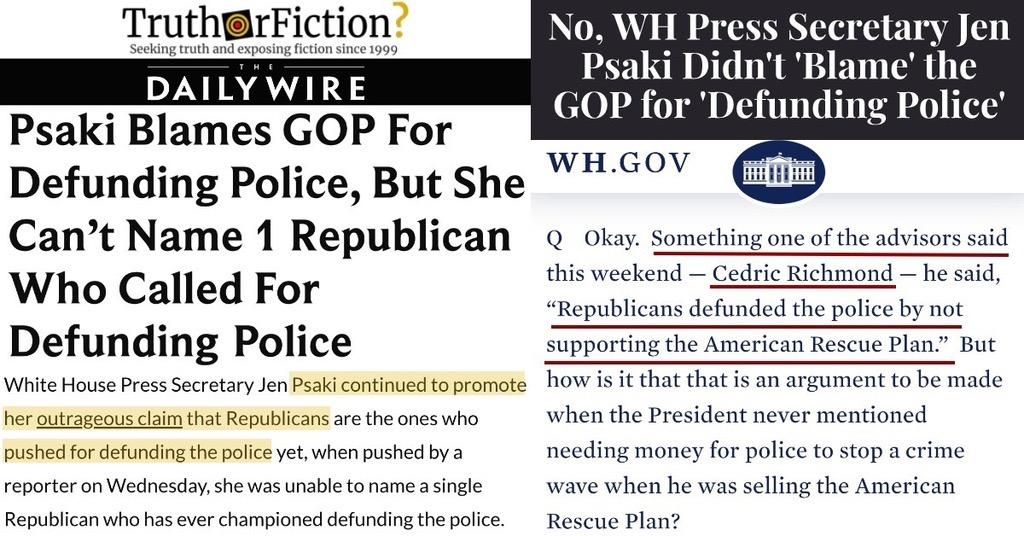 'White House Press Secretary Jen Psaki Blames GOP for Defunding Police'