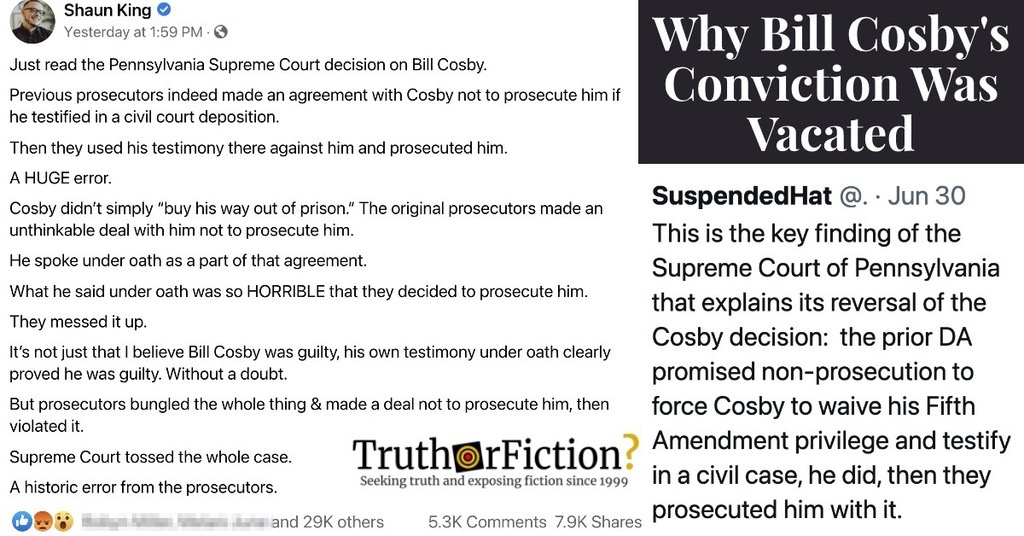 Why Bill Cosby Was Released