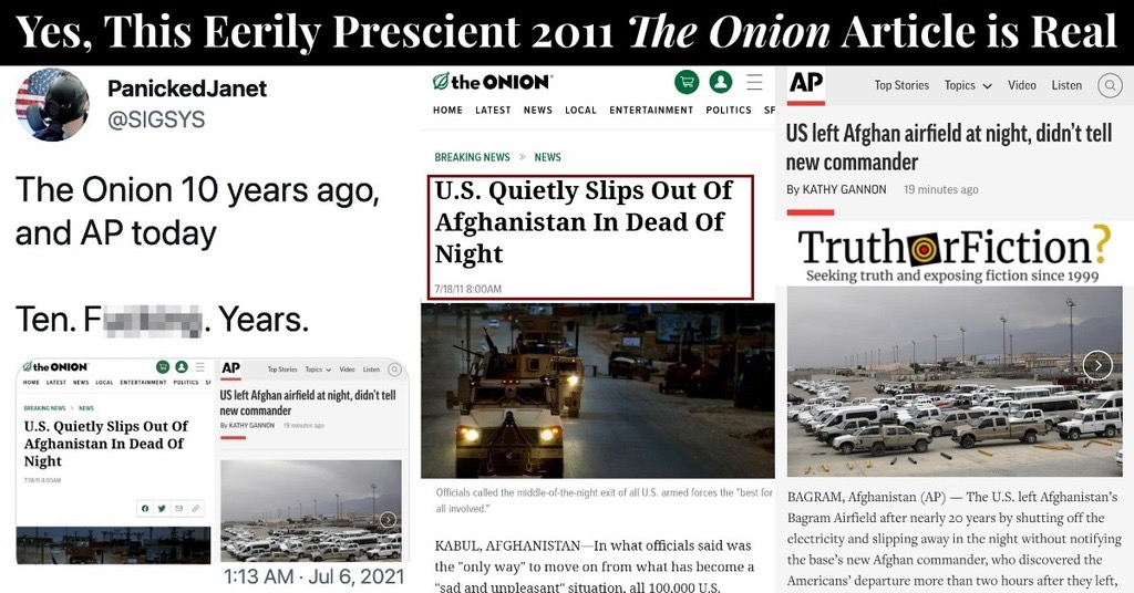 'U.S. Quietly Slips Out Of Afghanistan In Dead Of Night' Onion Story