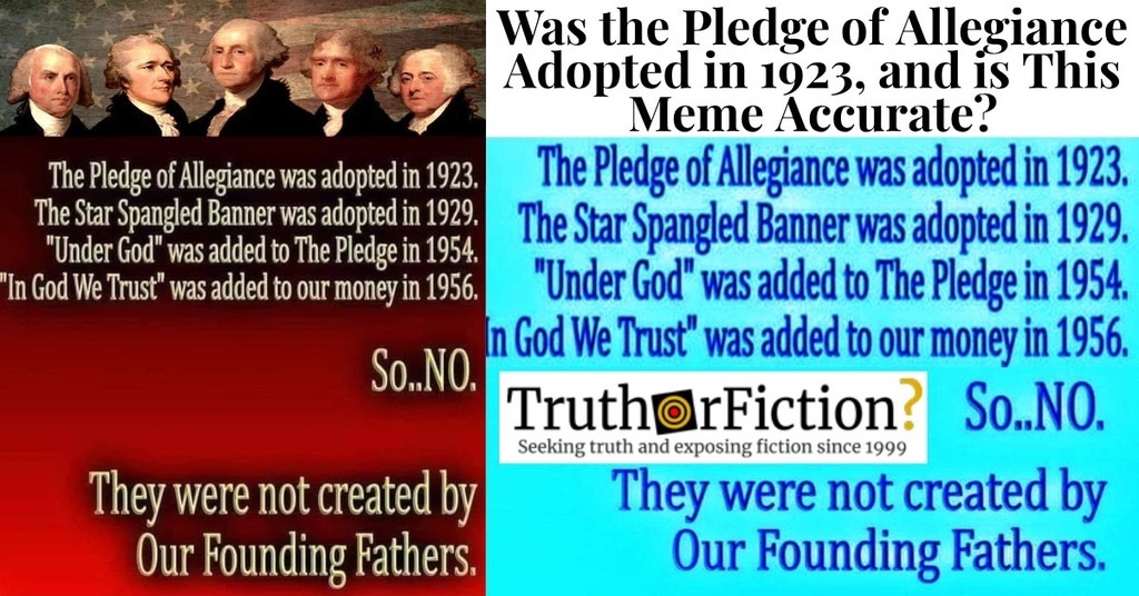 The Pledge of Allegiance Was Adopted in 1923, the Star Spangled Banner Was Adopted in 1929 …