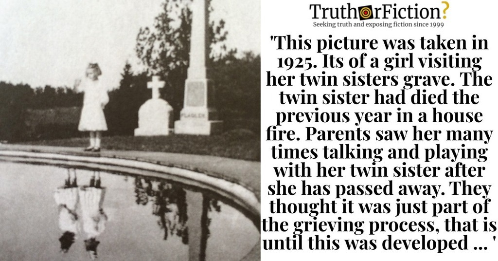 'This Picture Was Taken in 1925, Of a Girl Visiting Her Twin Sisters Grave'