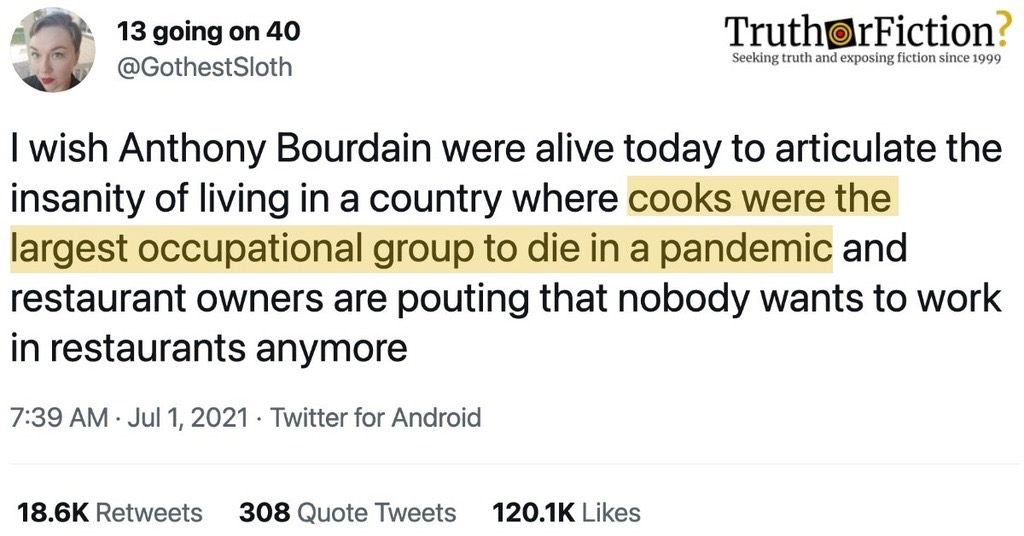 Were Cooks the Largest Occupational Group to Die in the Pandemic?