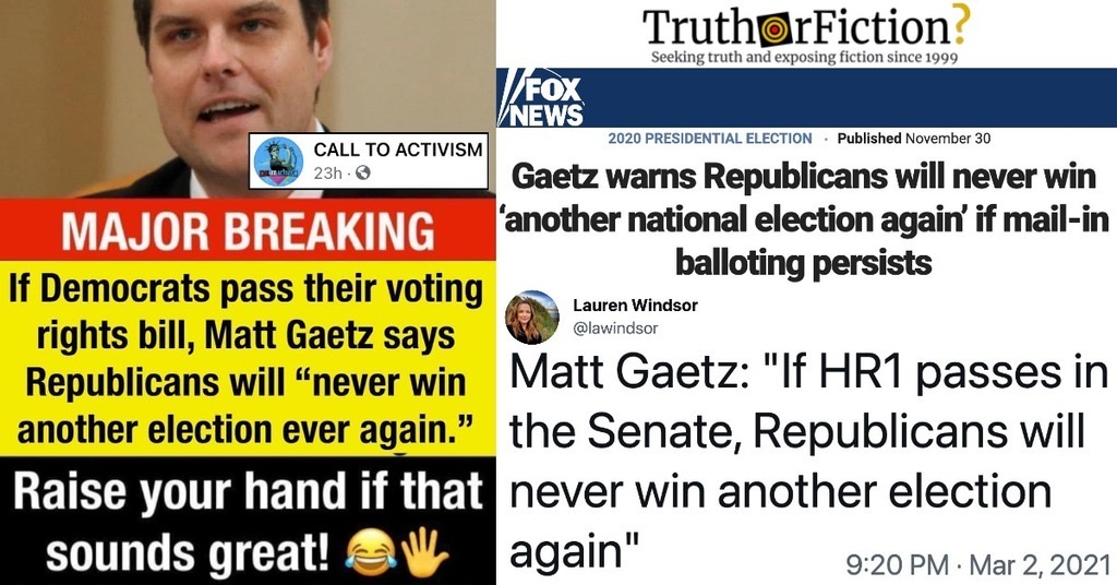Rep. Matt Gaetz Says if Democrats Pass Voting Bill, Republicans Will 'Never Win Another Election'