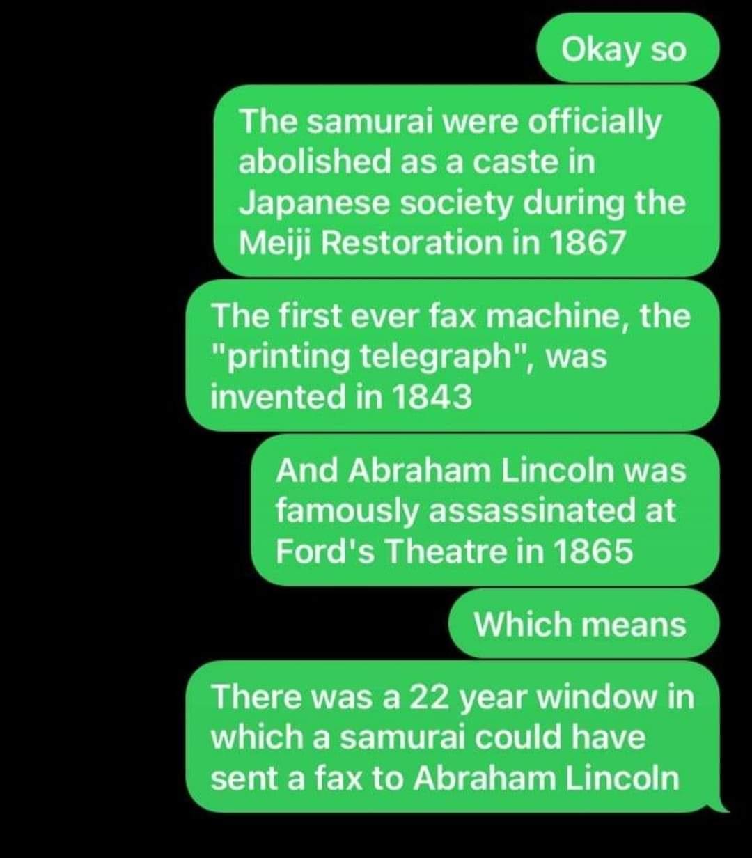 abraham lincoln samurai fax machine