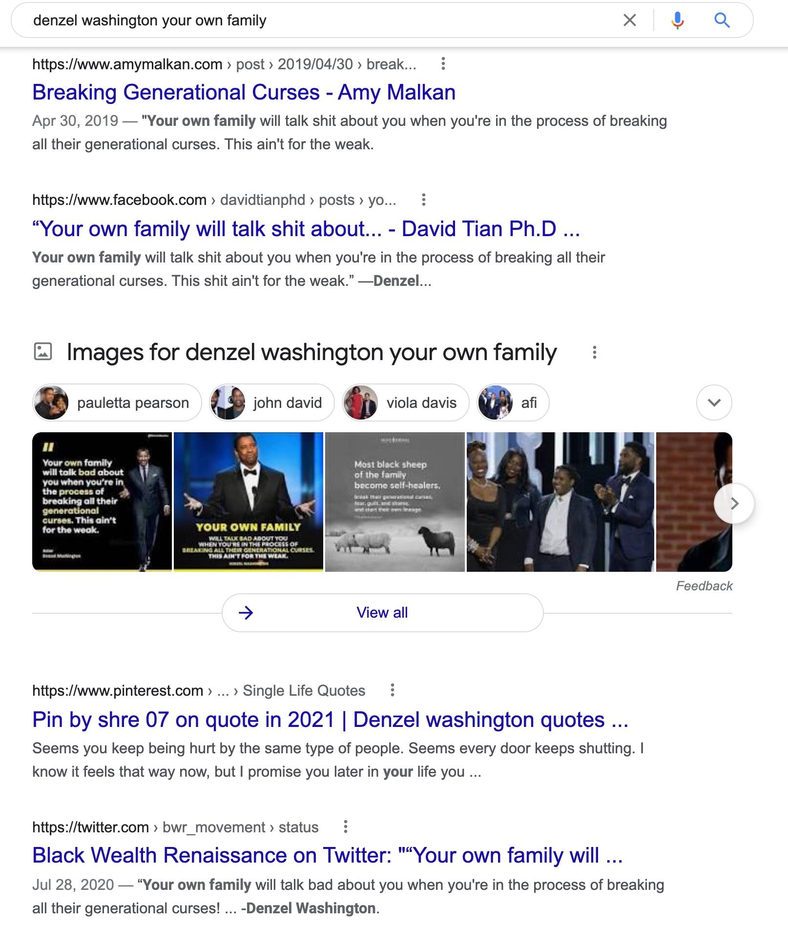 denzel washington your own family