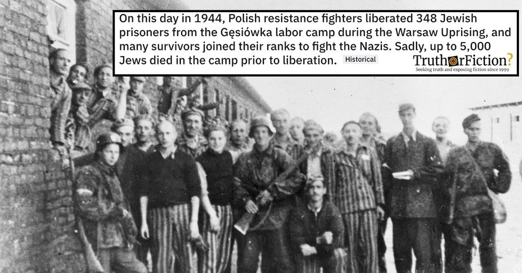 'On This Day in 1944, Polish Resistance Fighters Liberated 348 Jewish Prisoners from the Gęsiówka Labor Camp'
